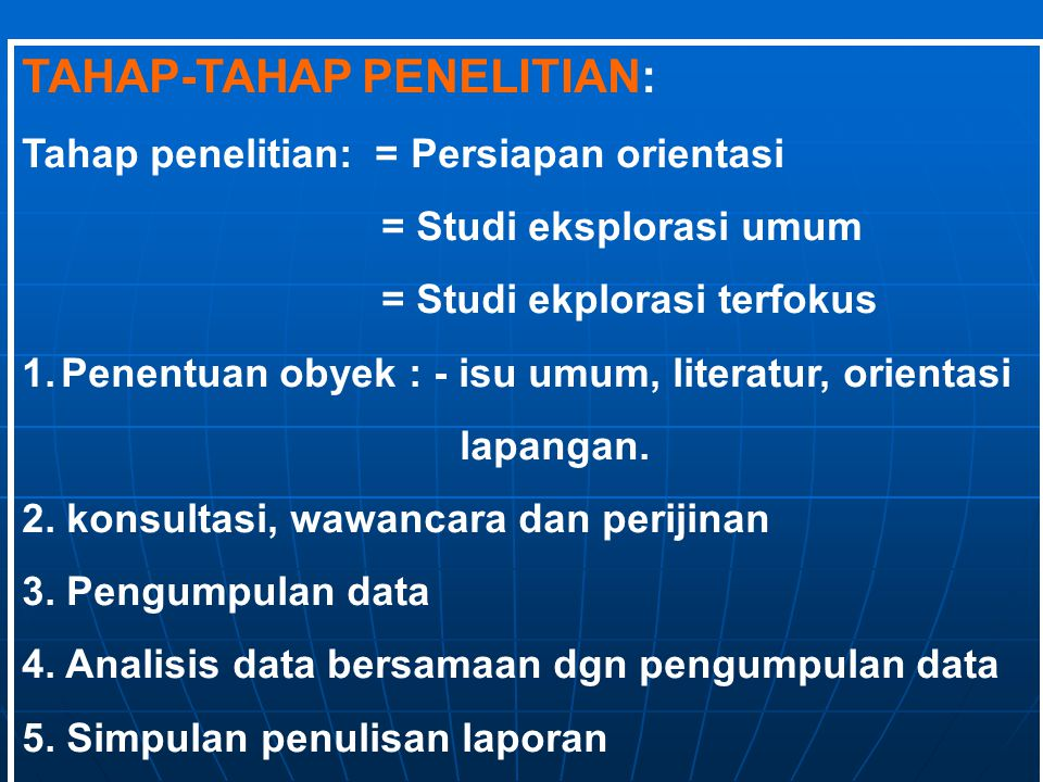 TAHAP-TAHAP PENELITIAN: