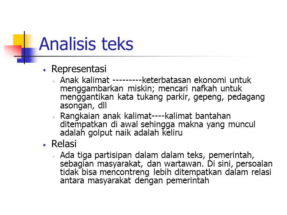 Analisis teks Representasi Relasi