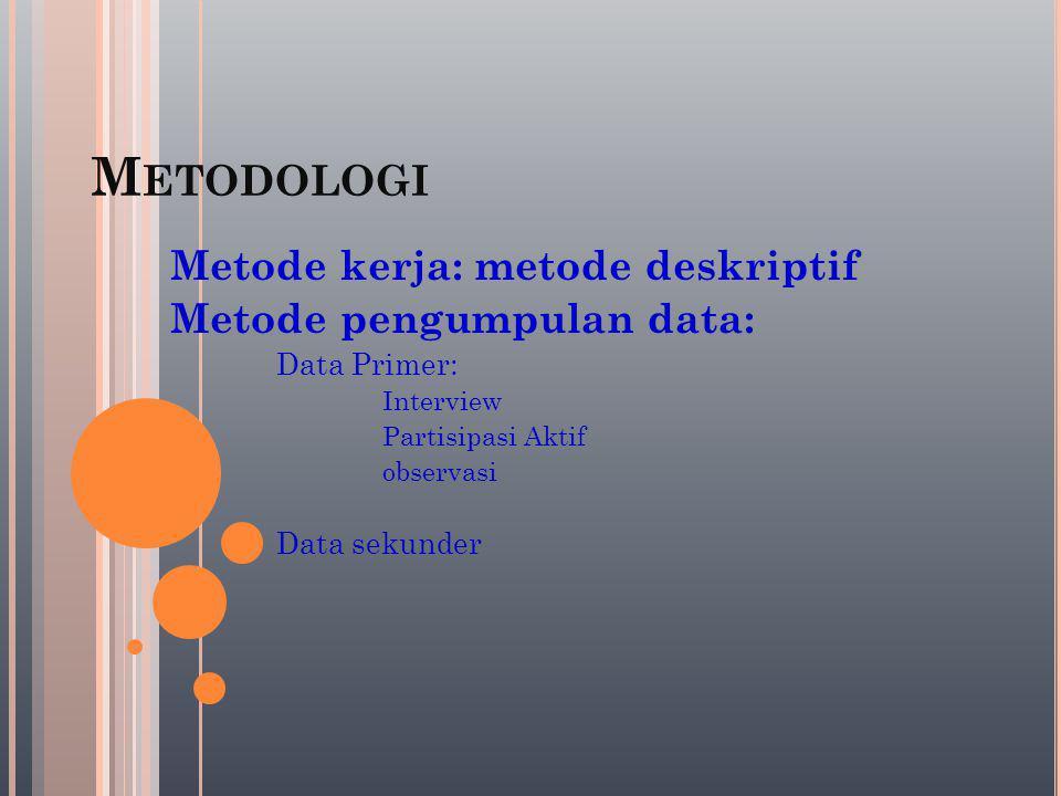 Metodologi Metode kerja: metode deskriptif Metode pengumpulan data: