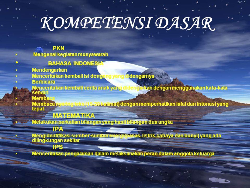KOMPETENSI DASAR BAHASA INDONESIA MATEMATIKA IPA IPS PKN