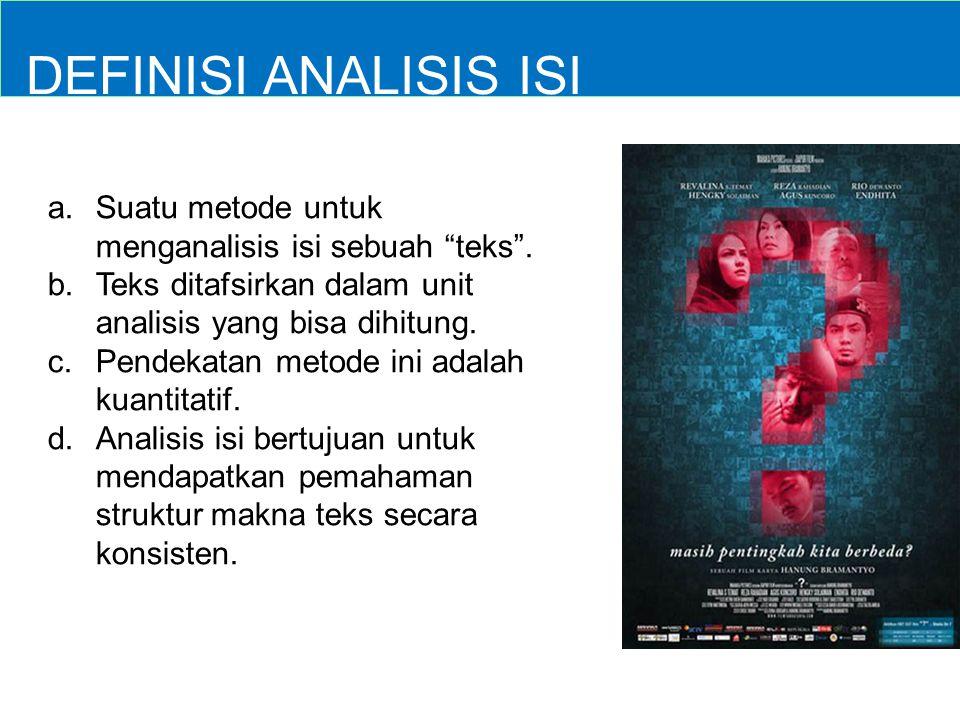 DEFINISI ANALISIS ISI Suatu metode untuk menganalisis isi sebuah teks . Teks ditafsirkan dalam unit analisis yang bisa dihitung.