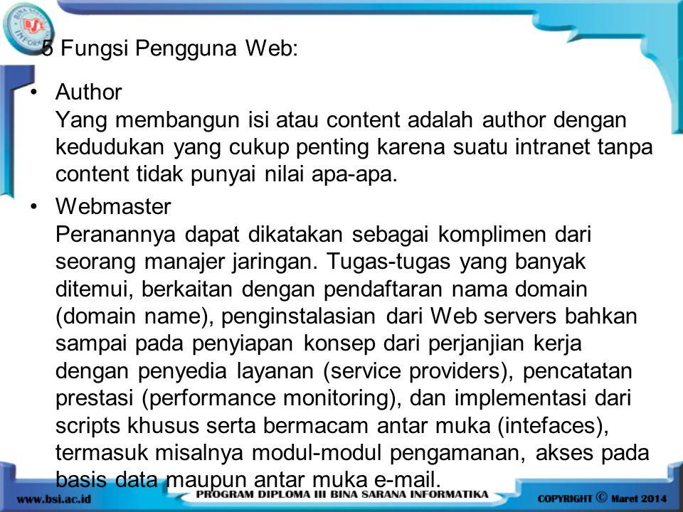 5 Fungsi Pengguna Web: