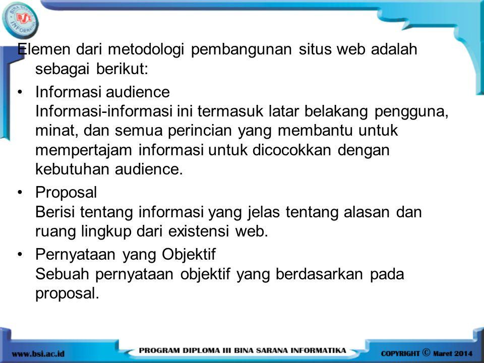 Elemen dari metodologi pembangunan situs web adalah sebagai berikut:
