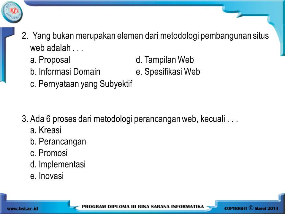 2. Yang bukan merupakan elemen dari metodologi pembangunan situs web adalah . . .