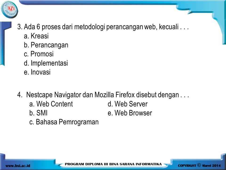 3. Ada 6 proses dari metodologi perancangan web, kecuali . . .