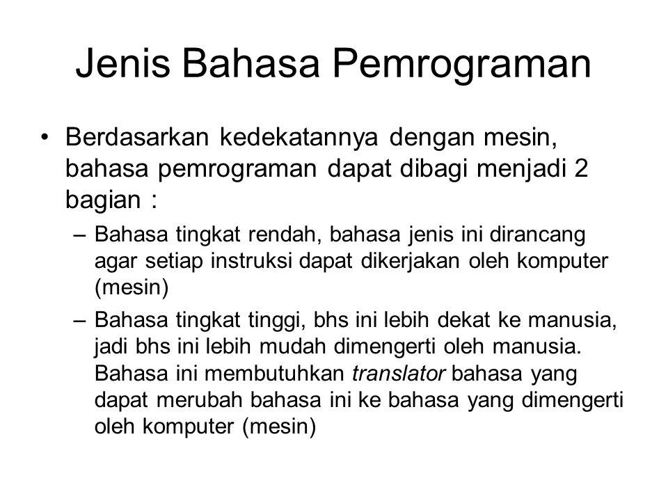 Jenis Bahasa Pemrograman