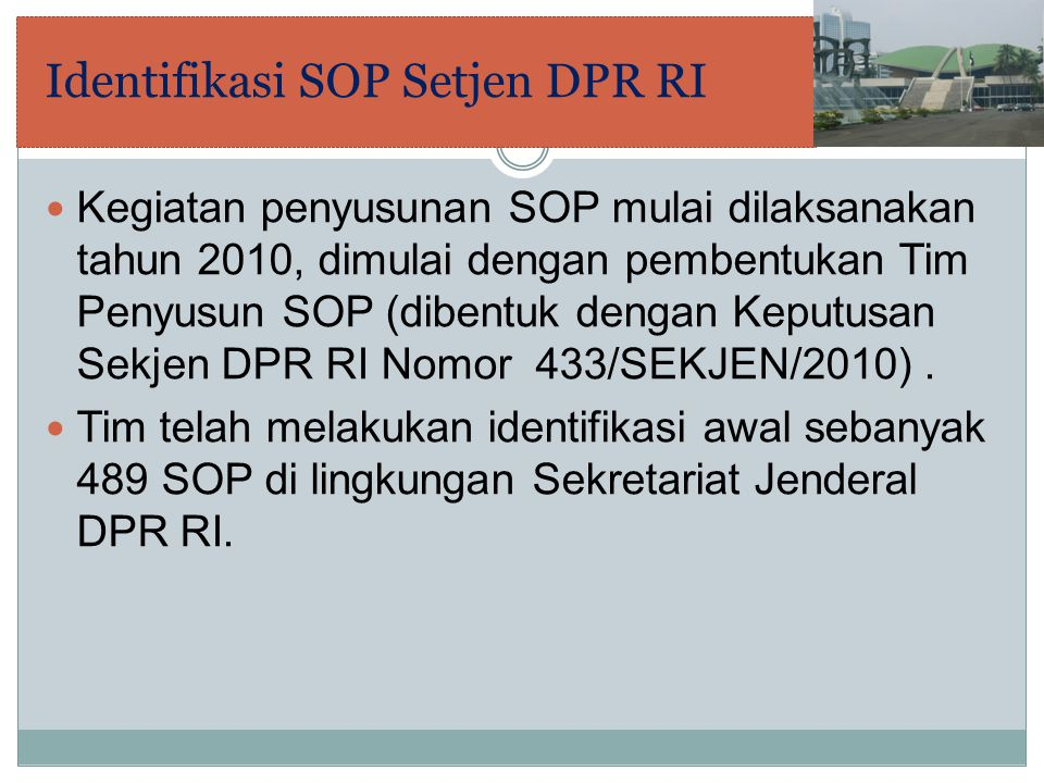 Identifikasi SOP Setjen DPR RI