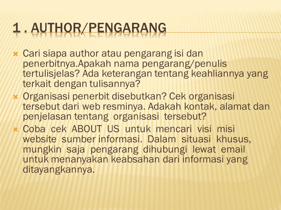 1 . AUTHOR/PENGARANg
