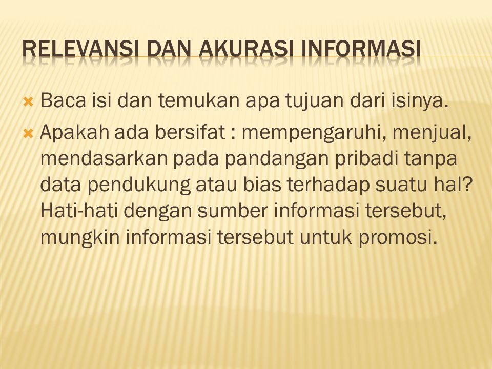 Relevansi dan akurasi informasi