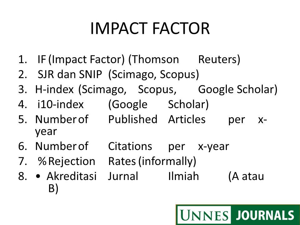 IMPACT FACTOR IF (Impact Factor) (Thomson Reuters)