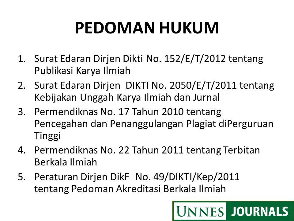 PEDOMAN HUKUM Surat Edaran Dirjen Dikti No. 152/E/T/2012 tentang Publikasi Karya Ilmiah.