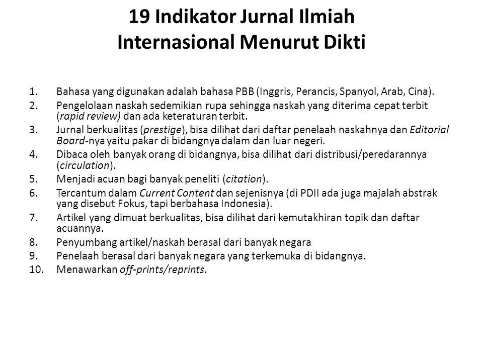 19 Indikator Jurnal Ilmiah Internasional Menurut Dikti
