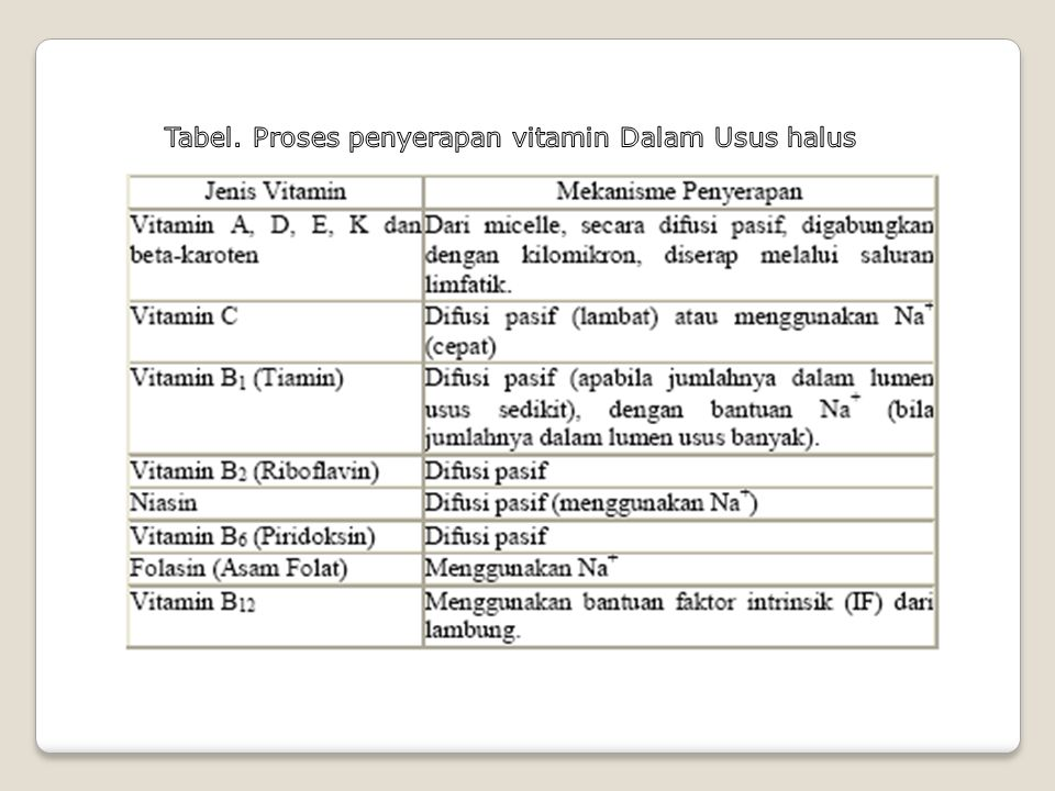 Tabel. Proses penyerapan vitamin Dalam Usus halus