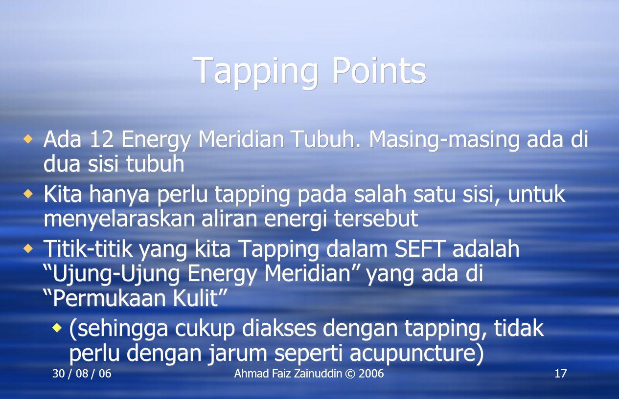 SEFT Training 30 Agustus 2006. Tapping Points. Ada 12 Energy Meridian Tubuh. Masing-masing ada di dua sisi tubuh.