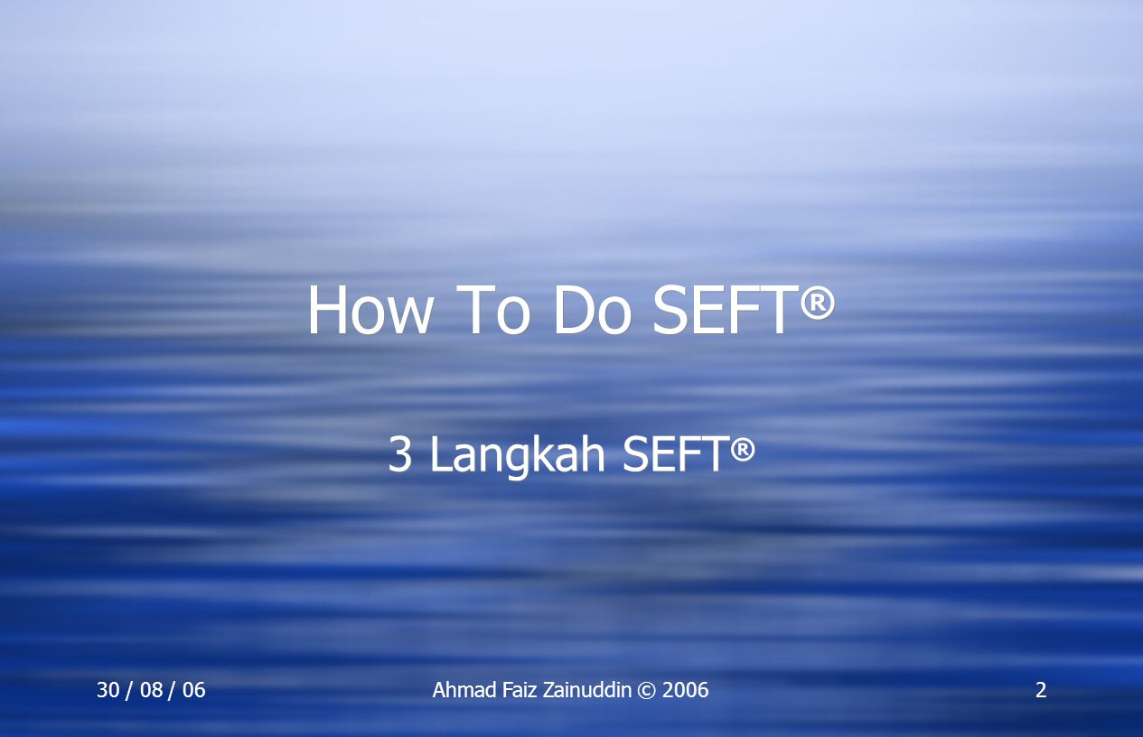 SEFT Training 3 Langkah SEFT®