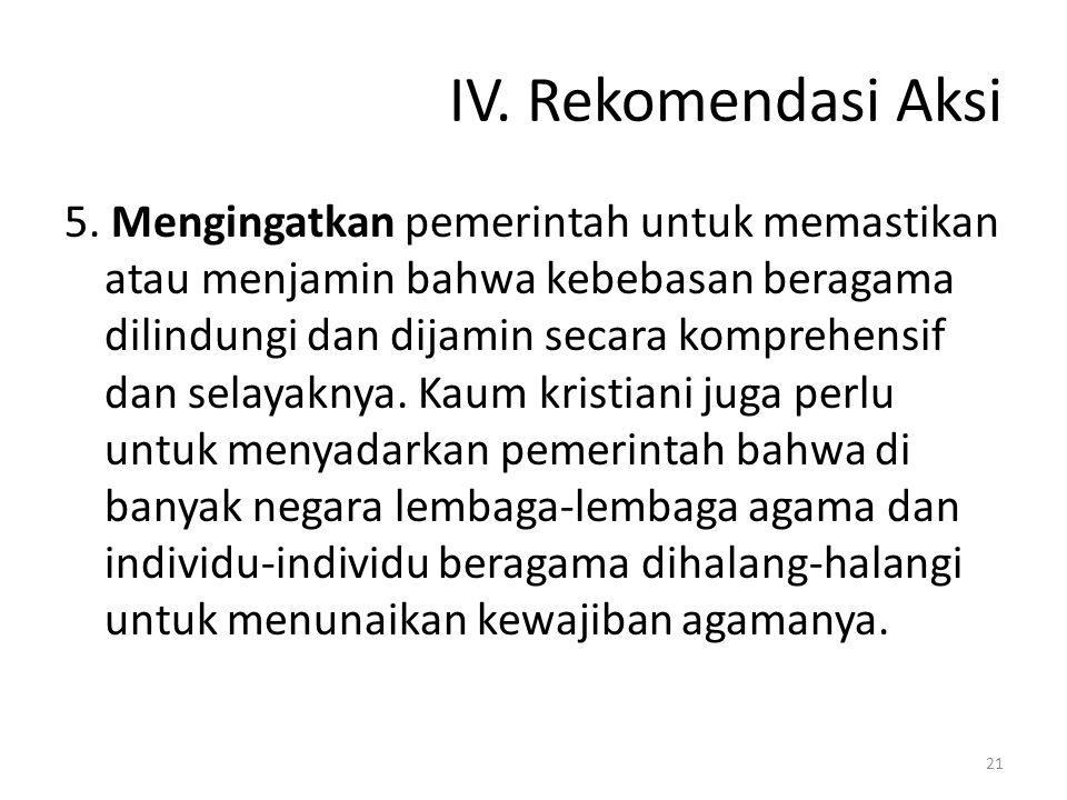 IV. Rekomendasi Aksi