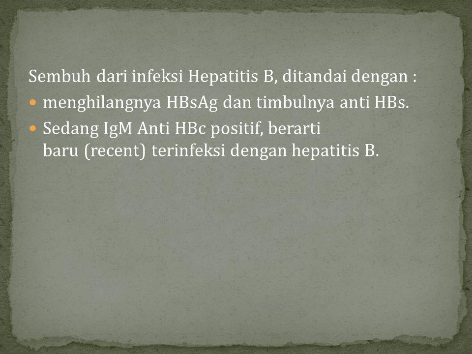 Sembuh dari infeksi Hepatitis B, ditandai dengan :