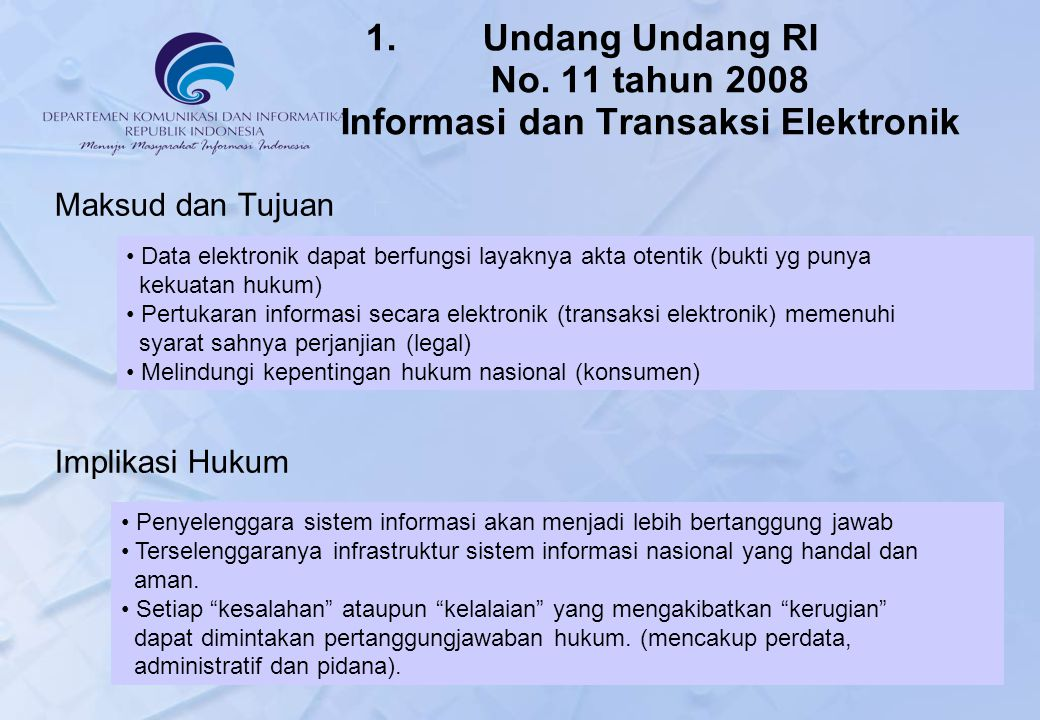 Undang Undang RI No. 11 tahun 2008 Informasi dan Transaksi Elektronik