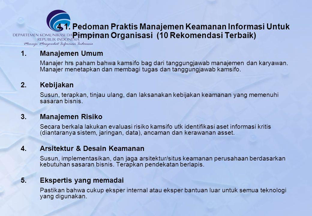 4.1. Pedoman Praktis Manajemen Keamanan Informasi Untuk Pimpinan Organisasi (10 Rekomendasi Terbaik)