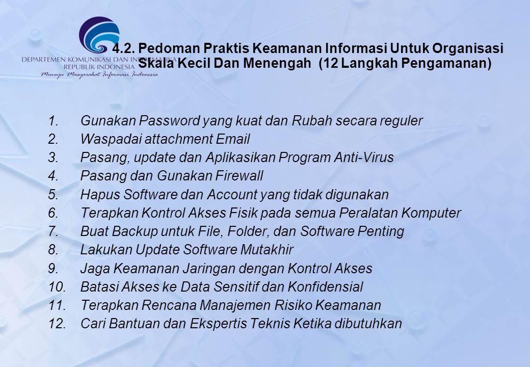 4.2. Pedoman Praktis Keamanan Informasi Untuk Organisasi Skala Kecil Dan Menengah (12 Langkah Pengamanan)