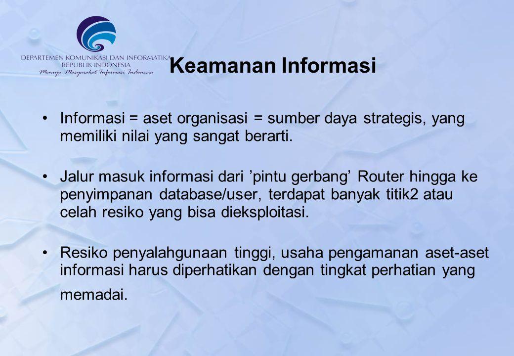 Keamanan Informasi Informasi = aset organisasi = sumber daya strategis, yang memiliki nilai yang sangat berarti.