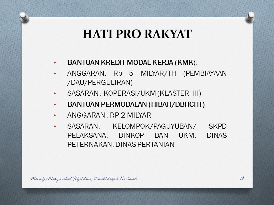 HATI PRO RAKYAT BANTUAN KREDIT MODAL KERJA (KMK),