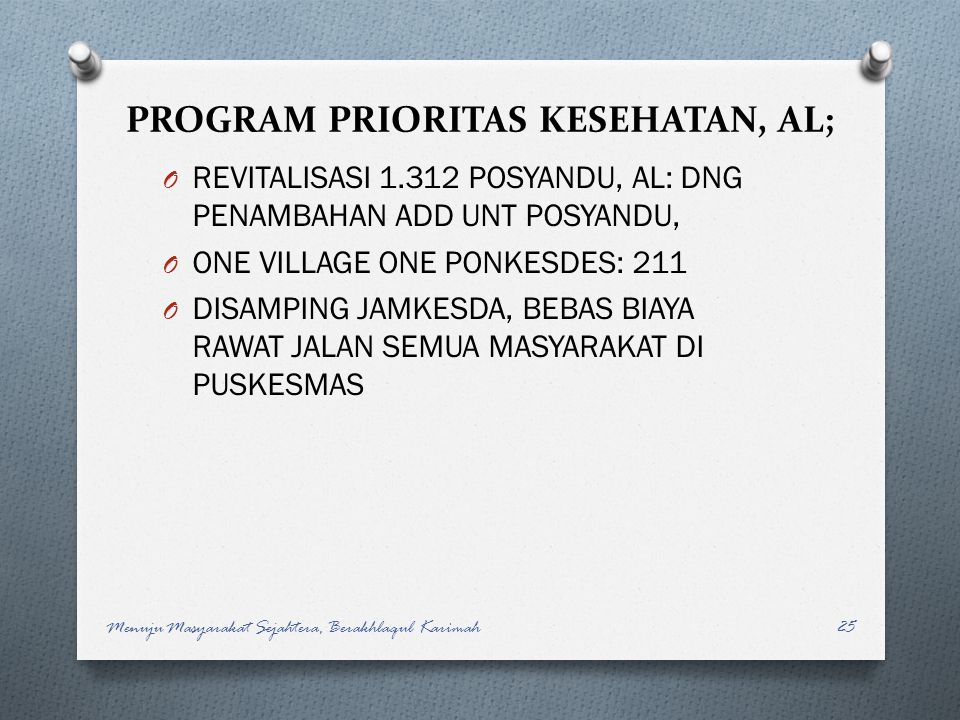 PROGRAM PRIORITAS KESEHATAN, AL;