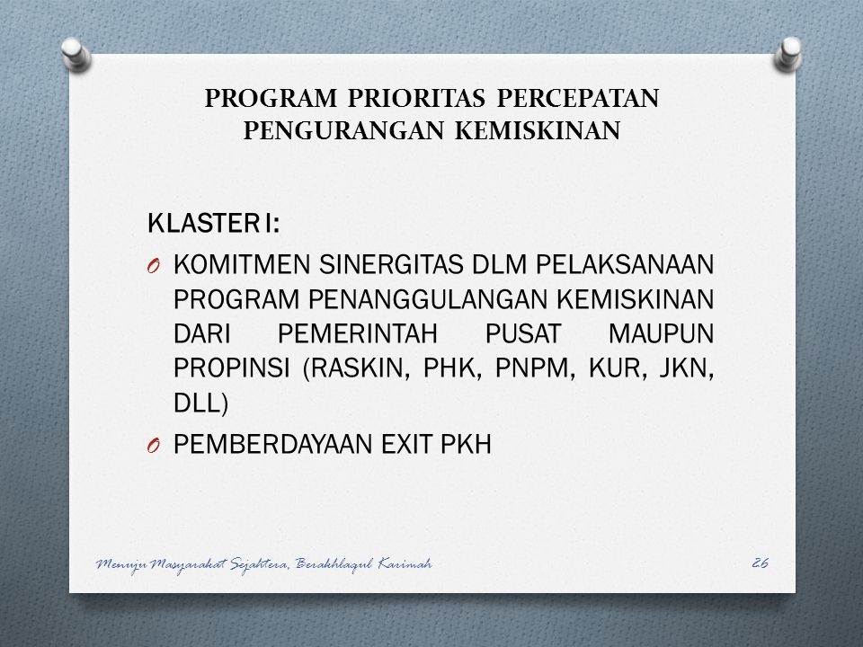 PROGRAM PRIORITAS PERCEPATAN PENGURANGAN KEMISKINAN