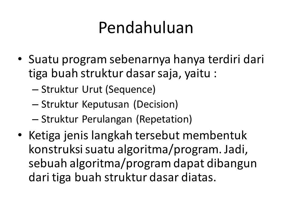 Pendahuluan Suatu program sebenarnya hanya terdiri dari tiga buah struktur dasar saja, yaitu : Struktur Urut (Sequence)