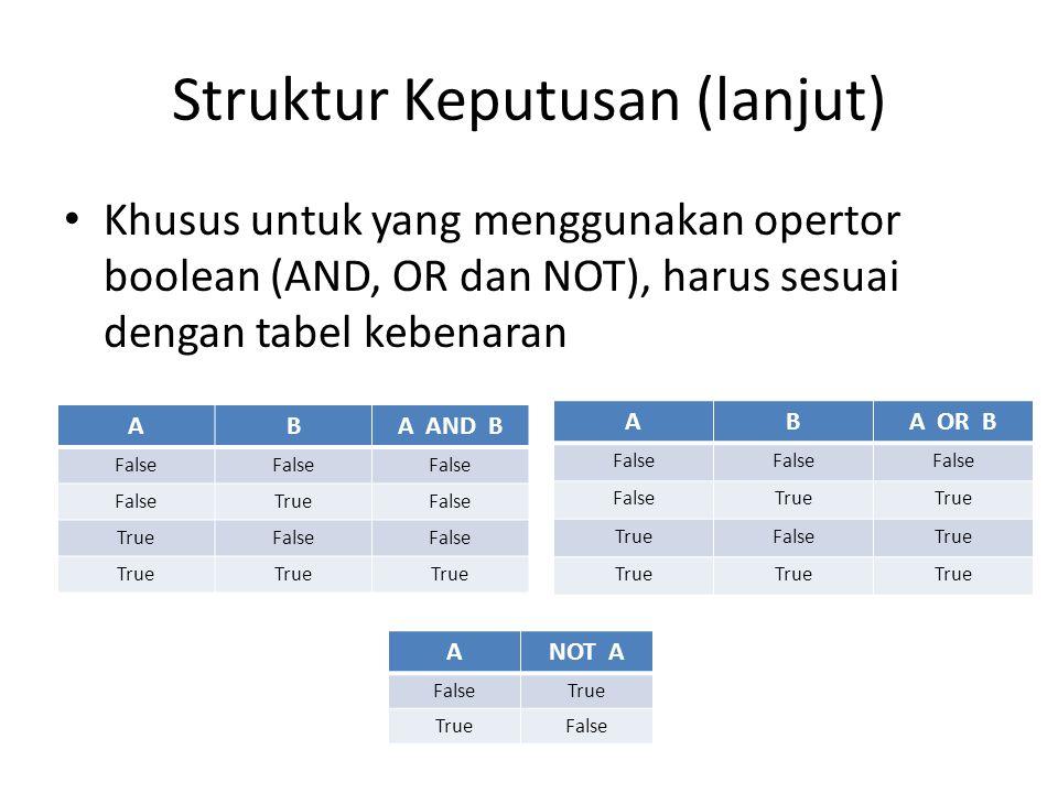 Struktur Keputusan (lanjut)