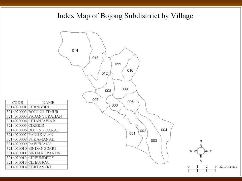 Peta Indeks Kecamatan Bojong Per Desa