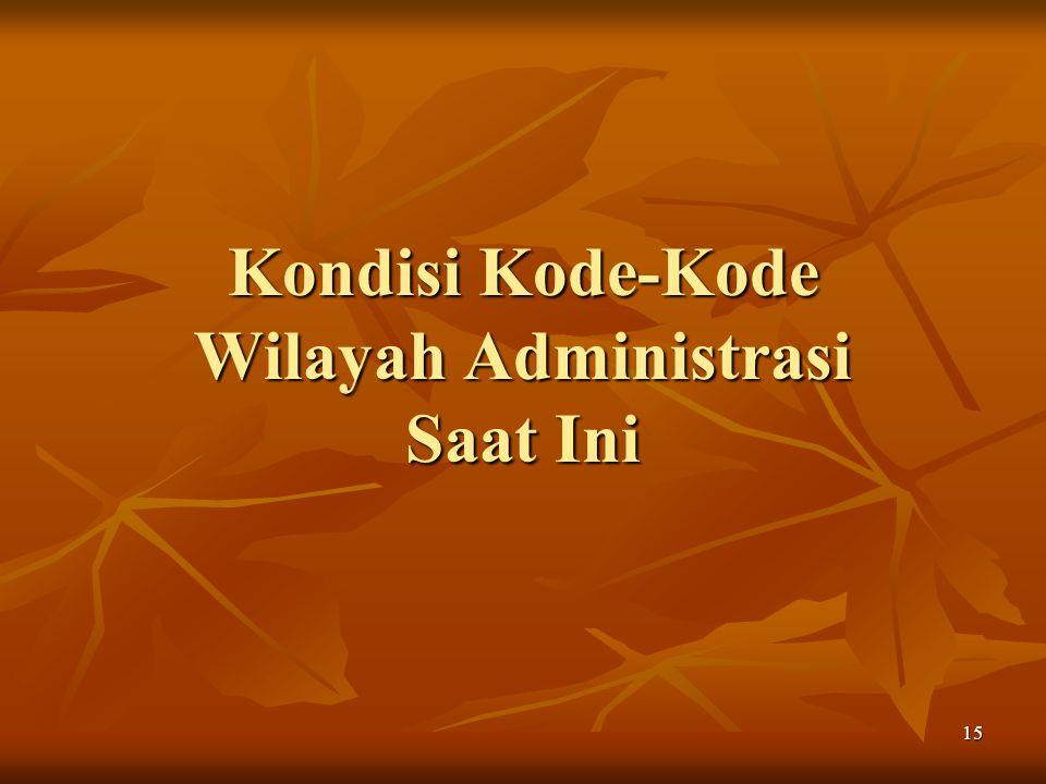 Kondisi Kode-Kode Wilayah Administrasi Saat Ini