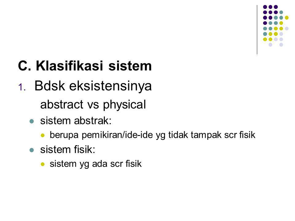 C. Klasifikasi sistem Bdsk eksistensinya abstract vs physical