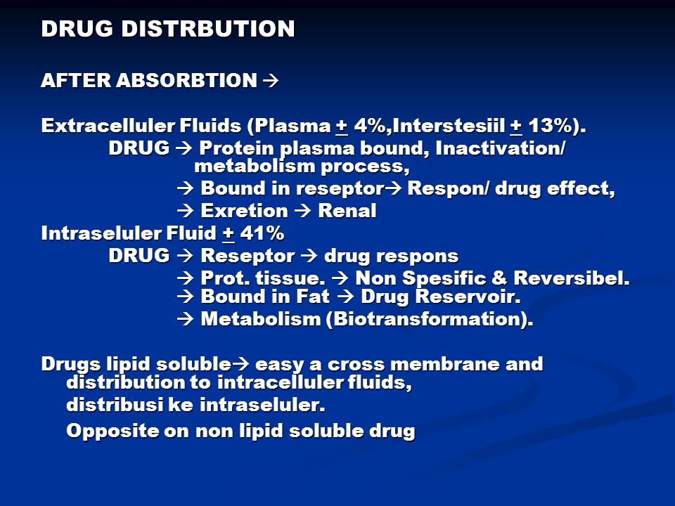 DRUG DISTRBUTION AFTER ABSORBTION 