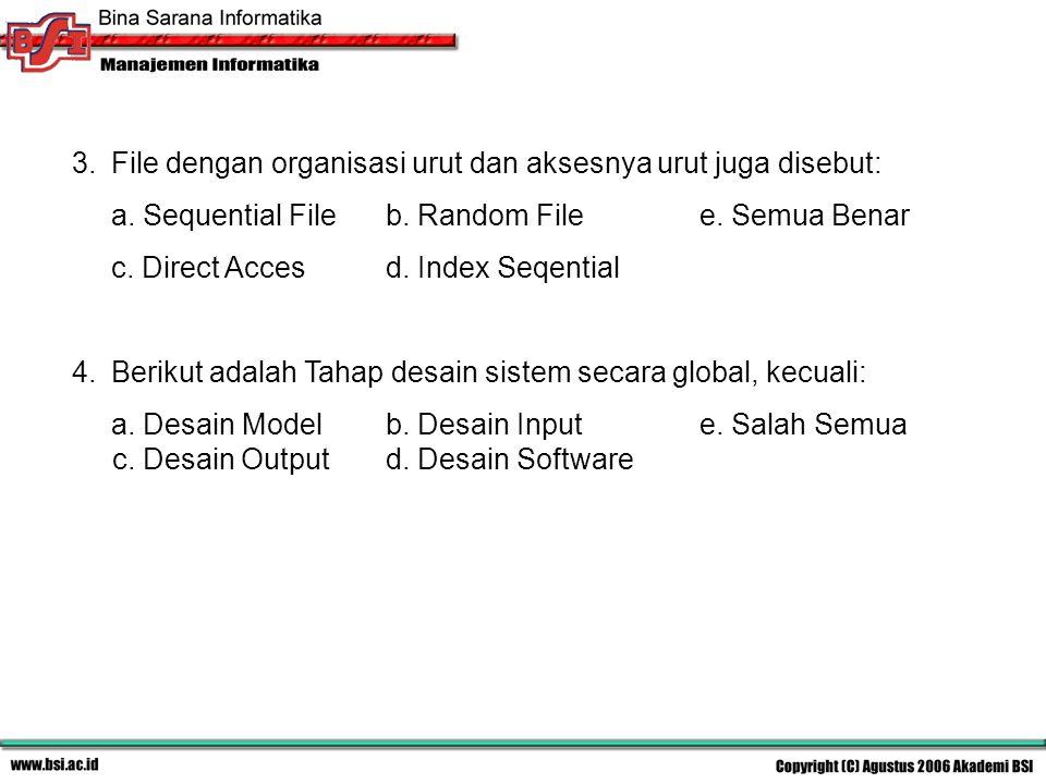 File dengan organisasi urut dan aksesnya urut juga disebut: