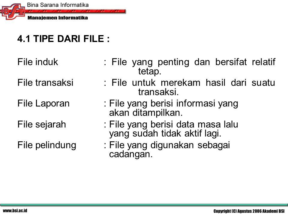 4.1 TIPE DARI FILE : File induk : File yang penting dan bersifat relatif tetap.