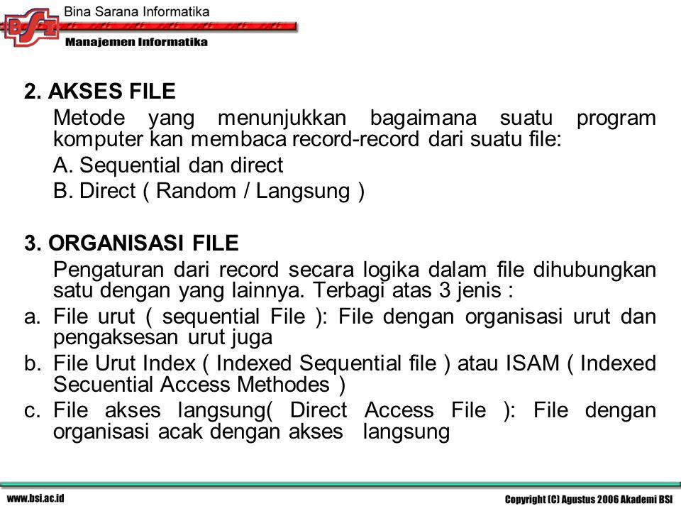 2. AKSES FILE Metode yang menunjukkan bagaimana suatu program komputer kan membaca record-record dari suatu file: