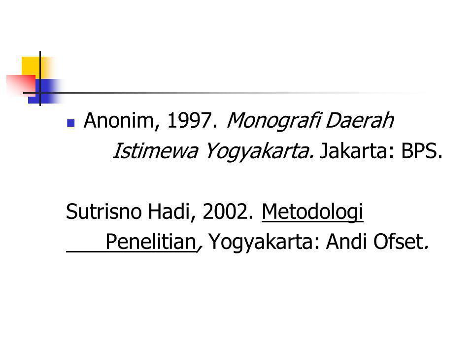 Anonim, 1997. Monografi Daerah