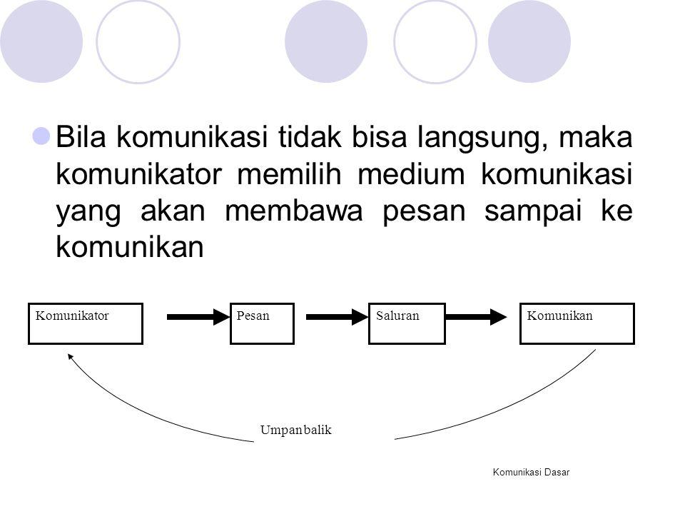 Bila komunikasi tidak bisa langsung, maka komunikator memilih medium komunikasi yang akan membawa pesan sampai ke komunikan