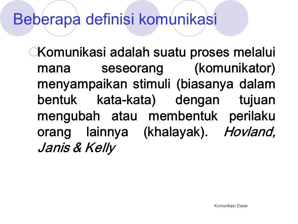 Beberapa definisi komunikasi
