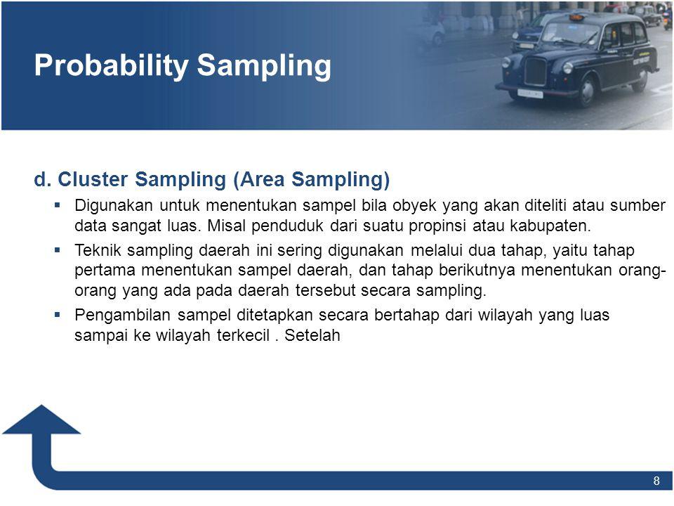 Probability Sampling d. Cluster Sampling (Area Sampling)