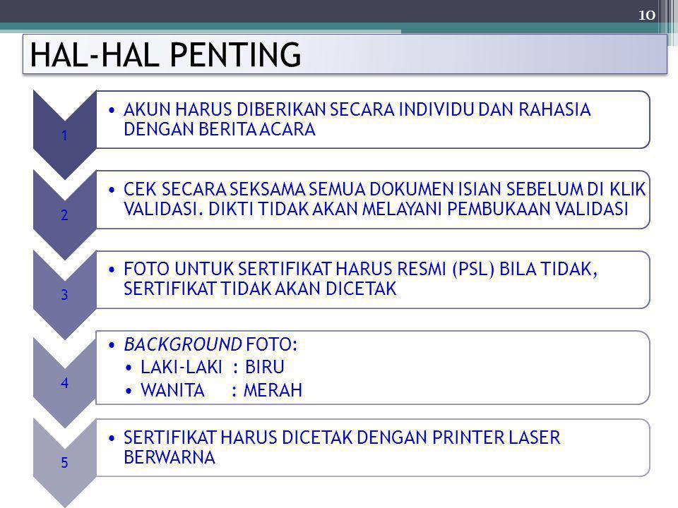 HAL-HAL PENTING 1. AKUN HARUS DIBERIKAN SECARA INDIVIDU DAN RAHASIA DENGAN BERITA ACARA. 2.