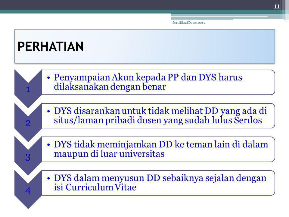 PERHATIAN Sertifikasi Dosen 2012 1