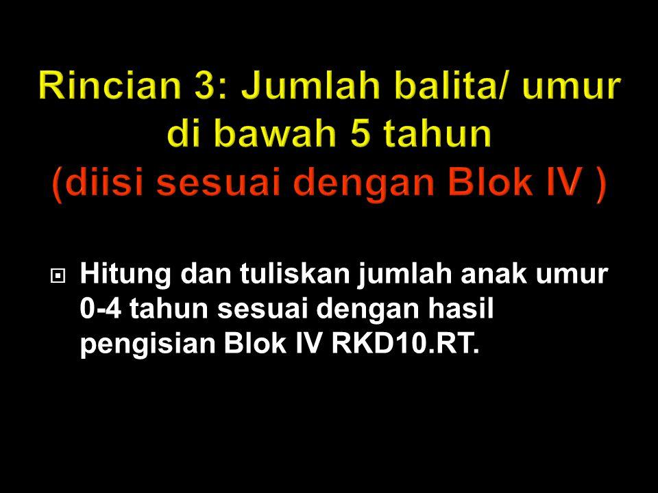 Rincian 3: Jumlah balita/ umur di bawah 5 tahun (diisi sesuai dengan Blok IV )