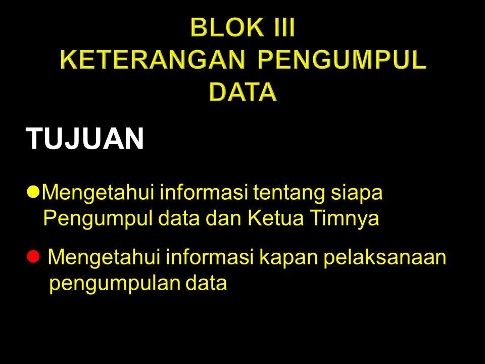 BLOK III KETERANGAN PENGUMPUL DATA