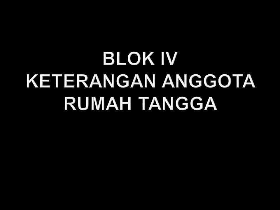 BLOK IV KETERANGAN ANGGOTA RUMAH TANGGA