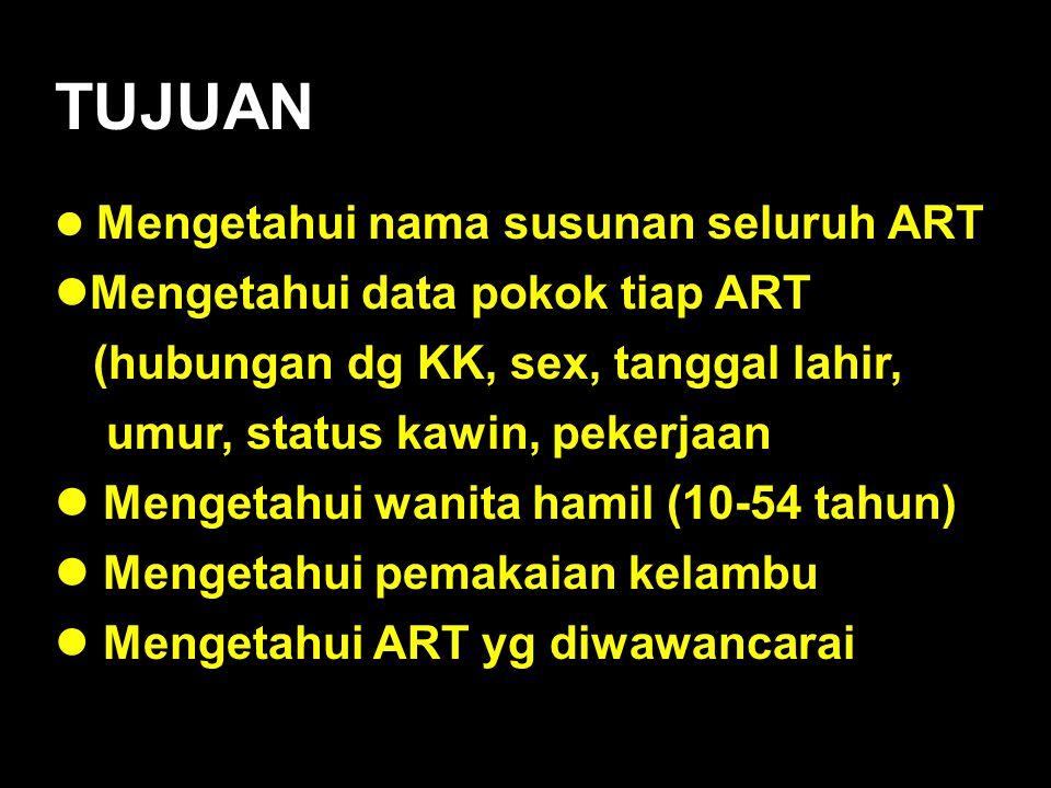TUJUAN Mengetahui data pokok tiap ART