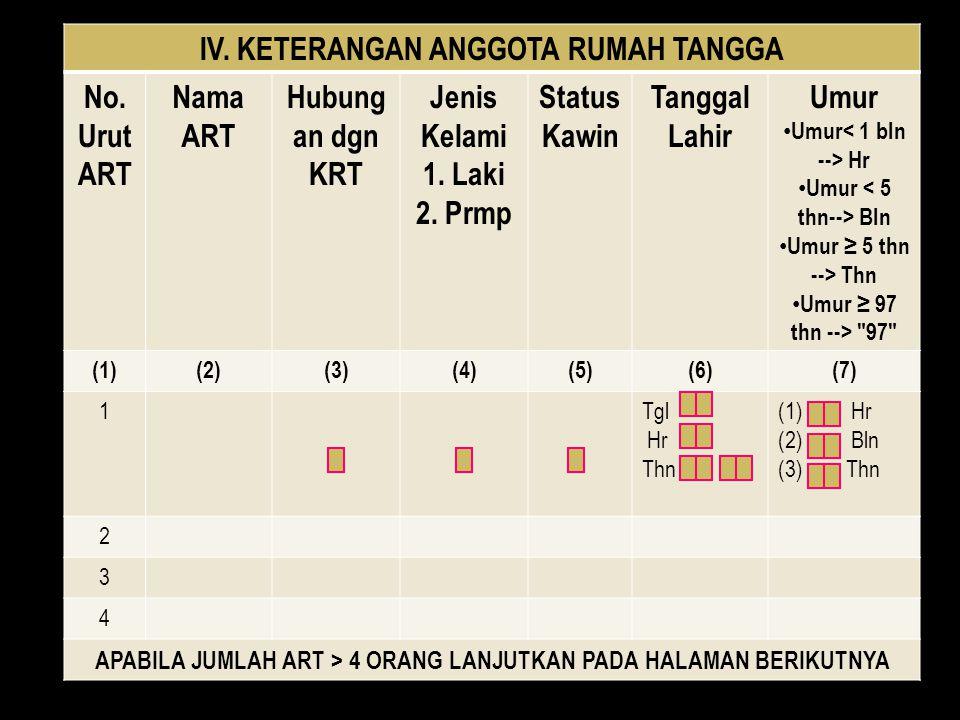 IV. KETERANGAN ANGGOTA RUMAH TANGGA No. Urut ART Nama ART