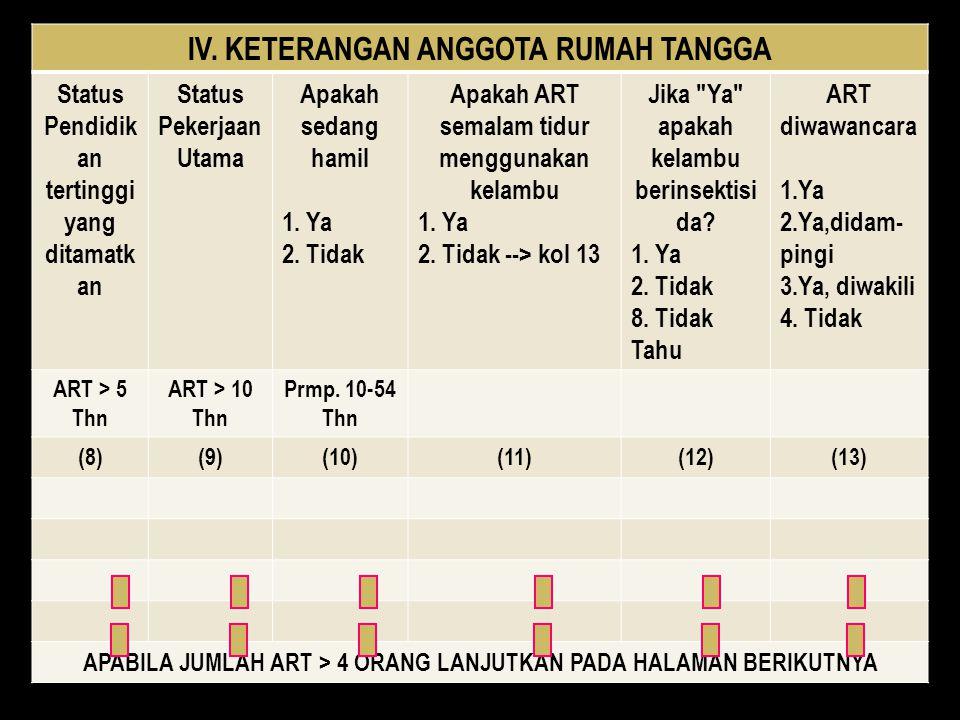 IV. KETERANGAN ANGGOTA RUMAH TANGGA