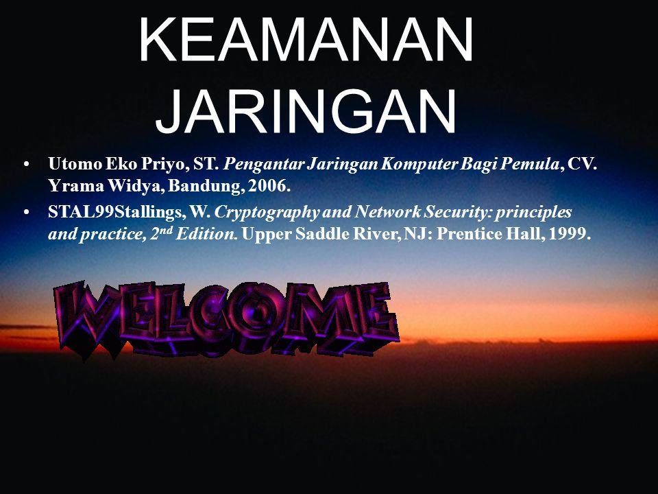 KEAMANAN JARINGAN Utomo Eko Priyo, ST. Pengantar Jaringan Komputer Bagi Pemula, CV. Yrama Widya, Bandung, 2006.